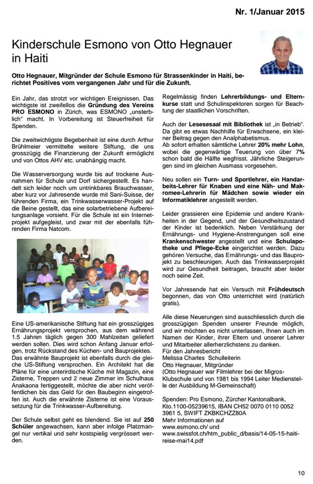 Esmono in der MGB-Pensionierten-Zeitung